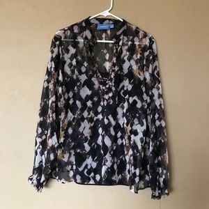 NWOT Vera Wang Dark Patterned Blouse with Cami